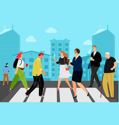 people on crossroad vector image