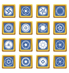 Photo diaphragm icons set blue vector