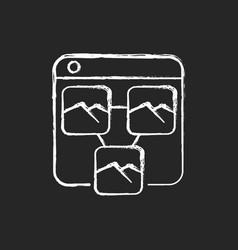 photo sharing platforms chalk white icon on dark vector image