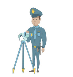 Policeman with radar for traffic speed control vector