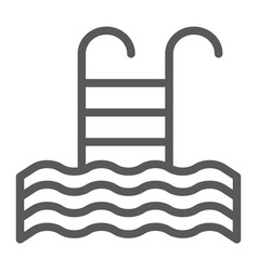 pool line icon swim and water ladder sign vector image