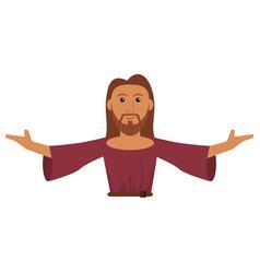 portrait jesus christ prayer spiritual vector image