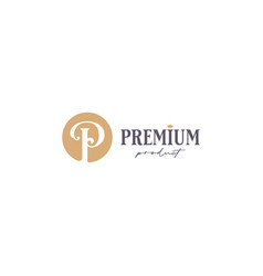 premium product logo letter p with crown on white vector image