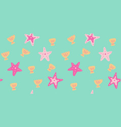 Seamless pattern with hand drawn starfish vector