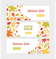 set of autumn horizontal web banner templates with vector image