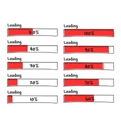 Set of progress loading bars from 0 to 100 percent vector