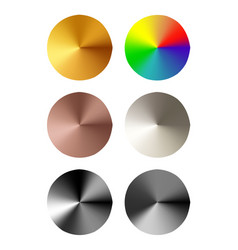 set of round templates of metal button vector image