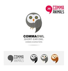 short ear owl bird concept icon and logo template vector image