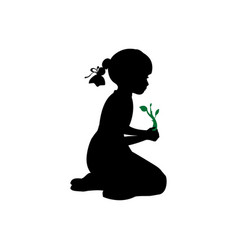 silhouette girl sitting knees plant sprout vector image