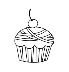 silhouette muffin with cherry icon vector image