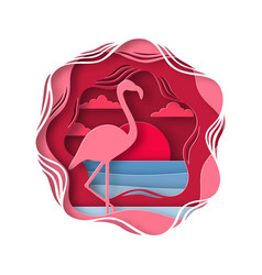 silhouette of flamingo in origami style tropical vector image