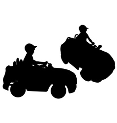 Silhouettes of small boy driving toy car vector image