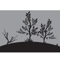 Silhouettes of small tree vector image