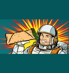 Smiling man astronaut presents shawarma kebab vector