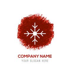 Snow flake icon - red watercolor circle splash vector