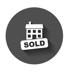 Sold house icon in flat style with long shadow vector