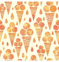 Summer ice cream cones seamless pattern background vector image