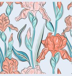 summer iris blossom hand drawn print modern bloom vector image