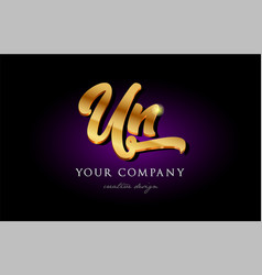 Un u n 3d gold golden alphabet letter metal logo vector