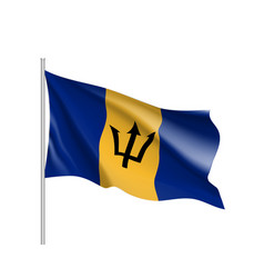 Waving flag of barbados vector