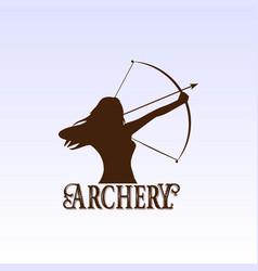Woman bow archery silhouette sport club logo vector