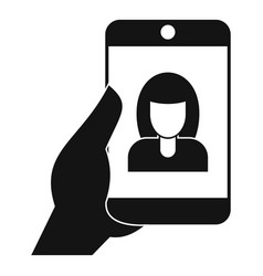 woman take selfie smartphone icon simple style vector image