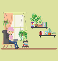 Woman with laptop in armchair vector