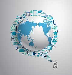 World globe with app icon business social media vector image