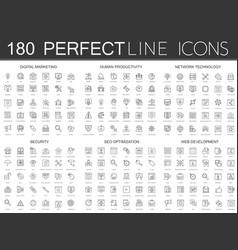 180 modern thin line icons set of digital vector image vector image