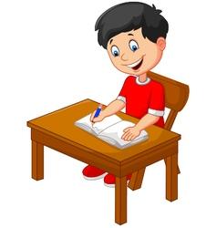 Cartoon little boy writing vector image vector image