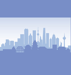 china silhouette architecture buildings town city vector image
