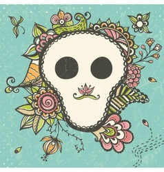 Floral doodle background with funny skull vector image