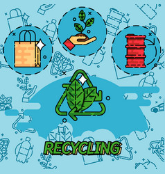 Recycling flat concept icons vector