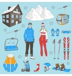 Ski resort icons set vector