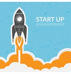 Space rocket launch in vintage style vector image
