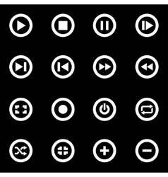 white media buttons icon set vector image