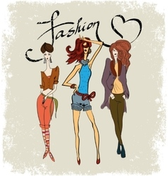 drawing three fashionable girls vector image