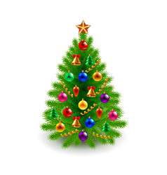 Green decorated Christmas tree isolated on white vector image vector image