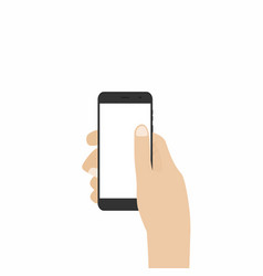 hand holding smartphone phone in hand isolated on vector image