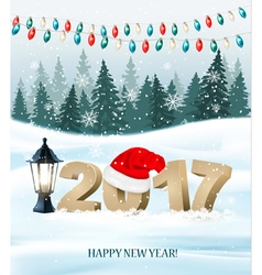 New Year background with a 2017 and santa hat vector image vector image