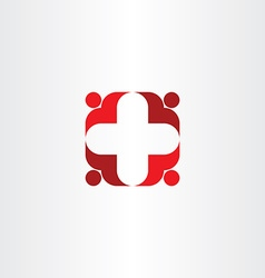 red cross icon people health vector image vector image