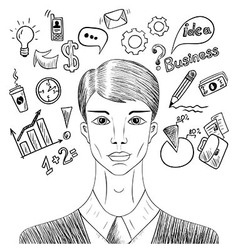 Sketch businessman with elements of working vector image