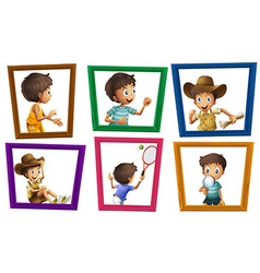Boys and photo frames vector image vector image