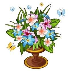 Bright bouquet of flowers in vase and butterfly vector image vector image