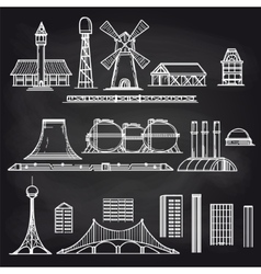 Country and city objects on chalkboard vector image