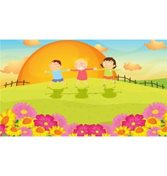 kids and landscape vector image vector image