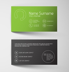 Modern green business card template with simple vector image vector image