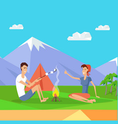 camping tent near fire and mountains happy couple vector image
