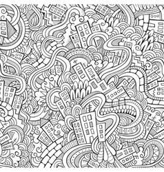 Cartoon doodles hand drawn town vector image