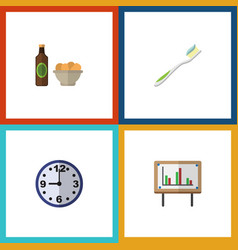 flat icon oneday set of whiteboard watch beer vector image vector image